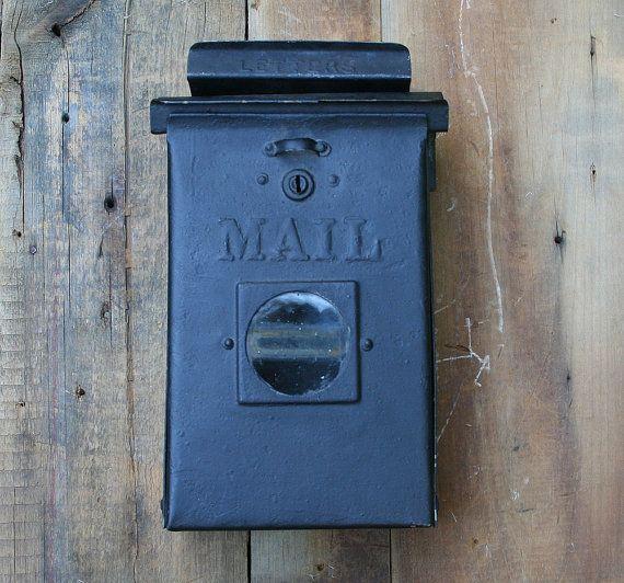 Vintage Tin Wall Mount Mailbox Vintage Metal Mailbox With Peephole Hanging Mailbox Vintage Black House Mount Mailbox Metal Mailbox Mounted Mailbox Wall Mount Mailbox