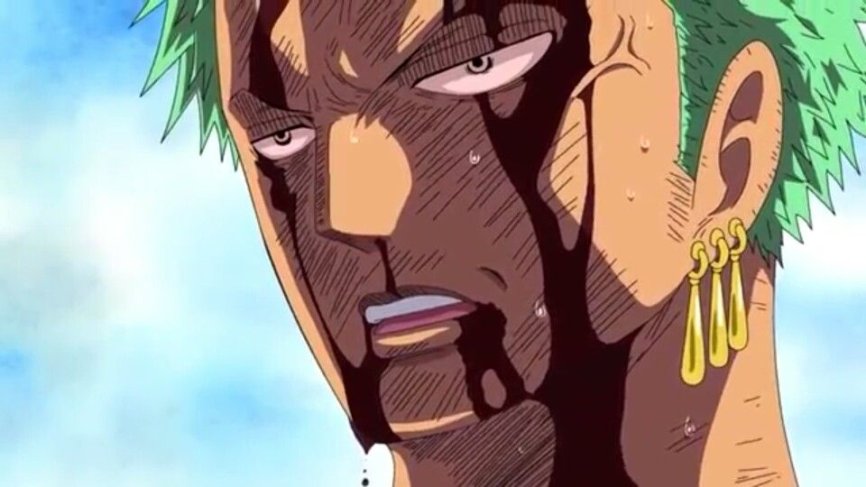 Thriller bark -Zoro wanted to sacrifice himself for luffy his captain so he took all his pain