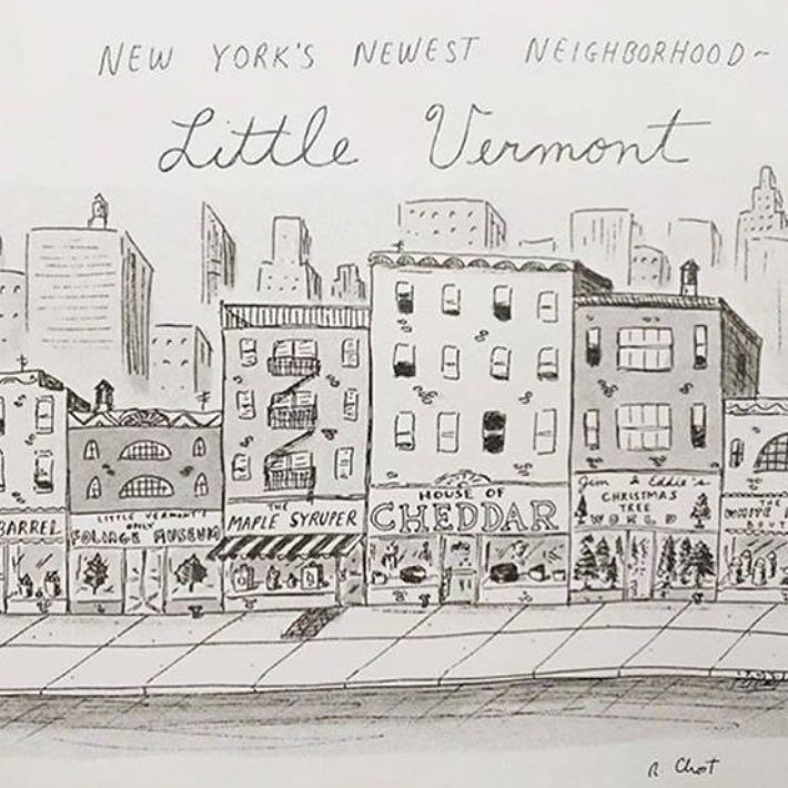 Cartoon by Roz Chast depicting the next hot neighborhood in NYC... Little Vermont! @newyorkermag #zutano #nyc #trendsetter #fun