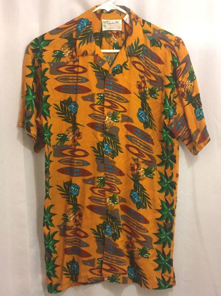 fdbfd9029f Hawaiian Shirt Size XL Thumbs Up Orange Surfboards Pineapple Hibiscus   ThumbsUp  Hawaiian