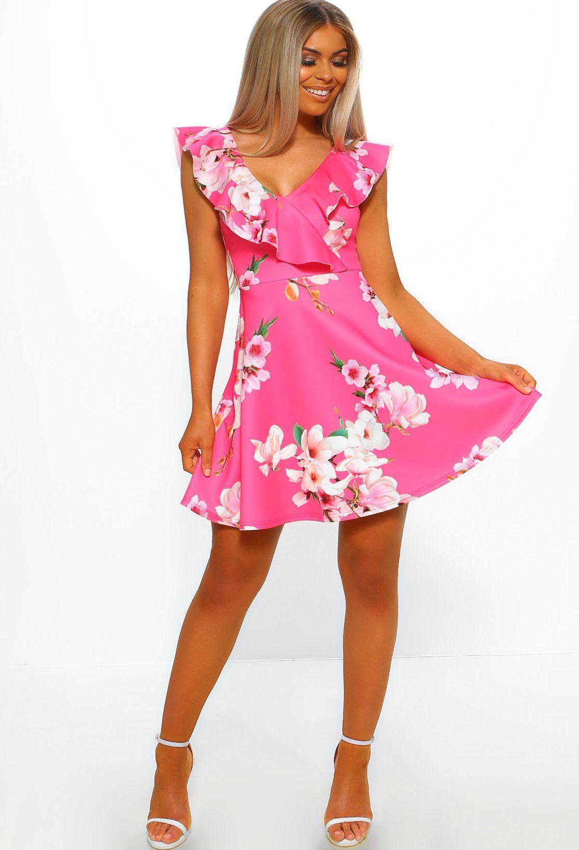 Hamptons party pink floral frill skater dress 8