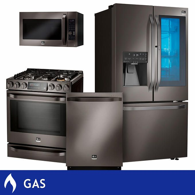 lg kitchen suite outside studio 4 piece gas 25 3cuft counter depth with instaview refrigerator in black stainless steel lsfxc2496d lssg3019bd lsmc3089bd
