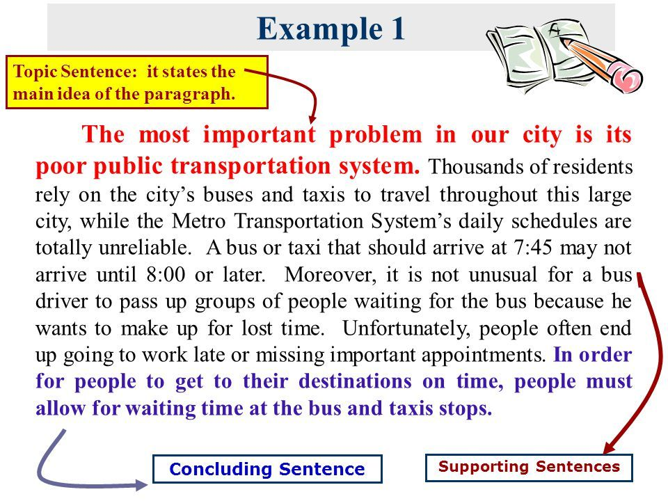 samples of writing topic sentence   supporting sentences