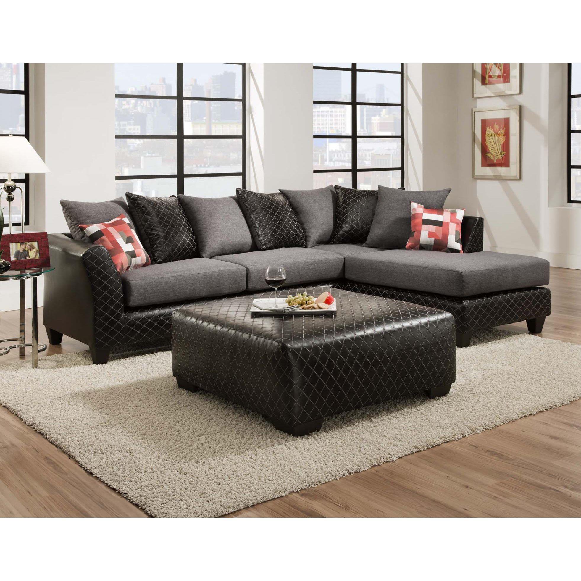 Sofa Trendz Dalin Black Microfiber Sectional Sofa (Dalin ...