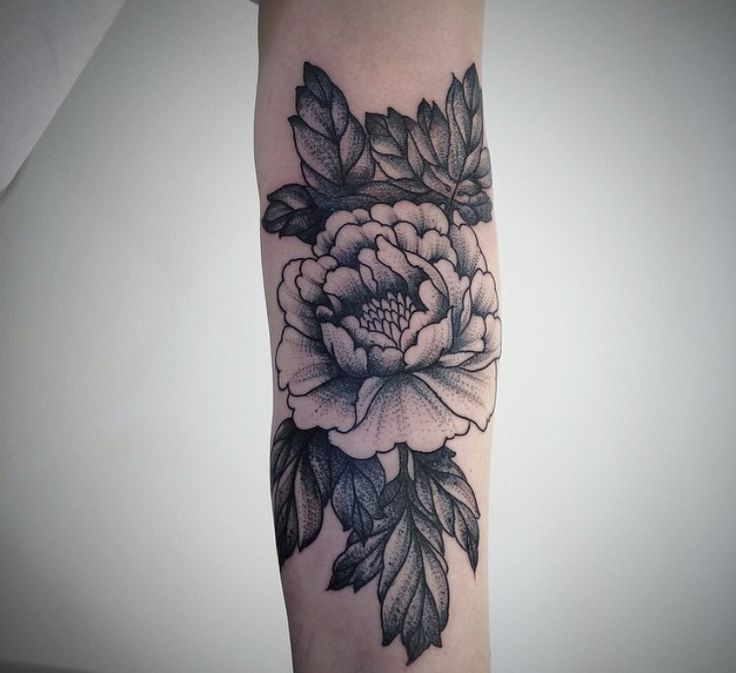 blackwork peony tattoo google search my body is a. Black Bedroom Furniture Sets. Home Design Ideas