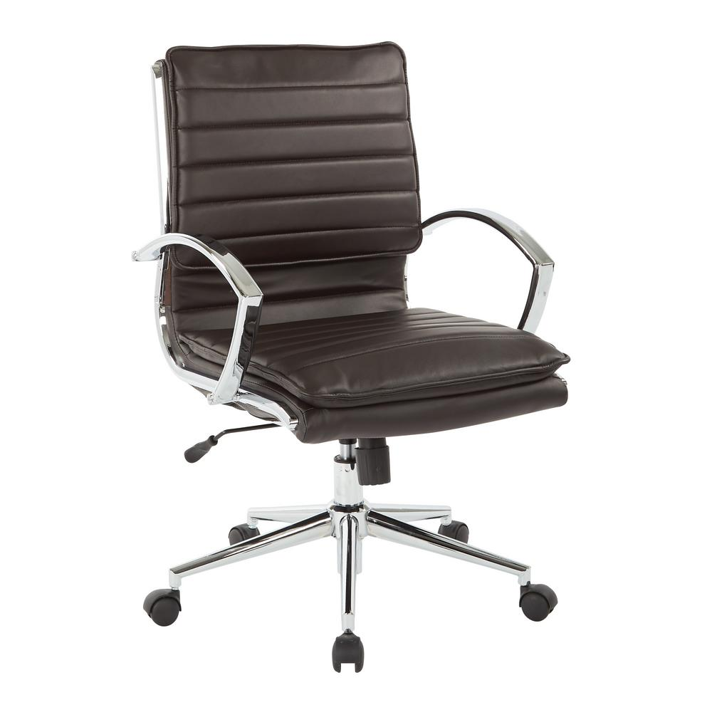Office Star Products Mid Back Manager S Espresso Faux Leather
