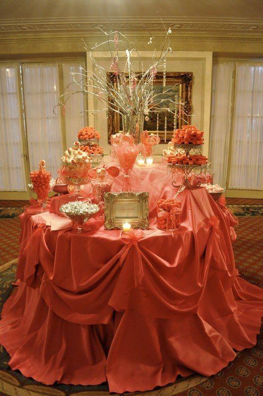 Orange Peach Coral Candy Bar Buffet Ideas Wedding Candy Candy Buffet Candy Buffet Tables