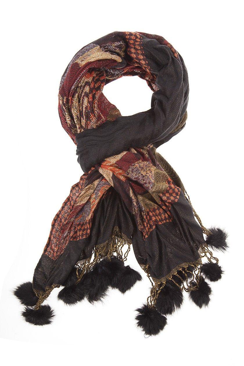 Etole pompons fourrure - Foulard femme Bréal Accessoires de vêtements mode 147d4e41728