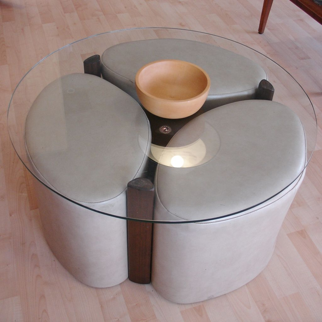TH Brown Coffee Table With Stools - Coffee Table With Stools -- Love This Idea For Stools Tucked Under