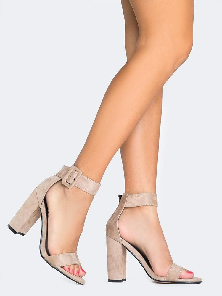 86e240826d06 Nude suede heels with an ankle strap and square buckle ~ Ankle Strap Dress  Sandals