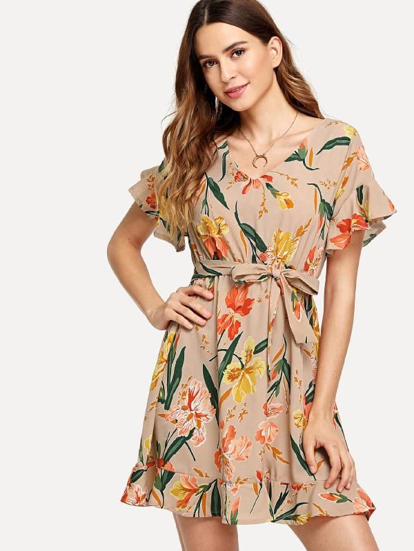 330bc5738d Floral Print Ruffle Hem Dress -SheIn(Sheinside) | TRENDY FASHION ...