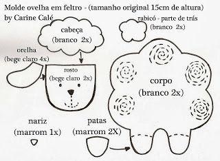 8 Moldes Ovelha Eva Feltro Tecido Adoro Crafts Ovelhinha De