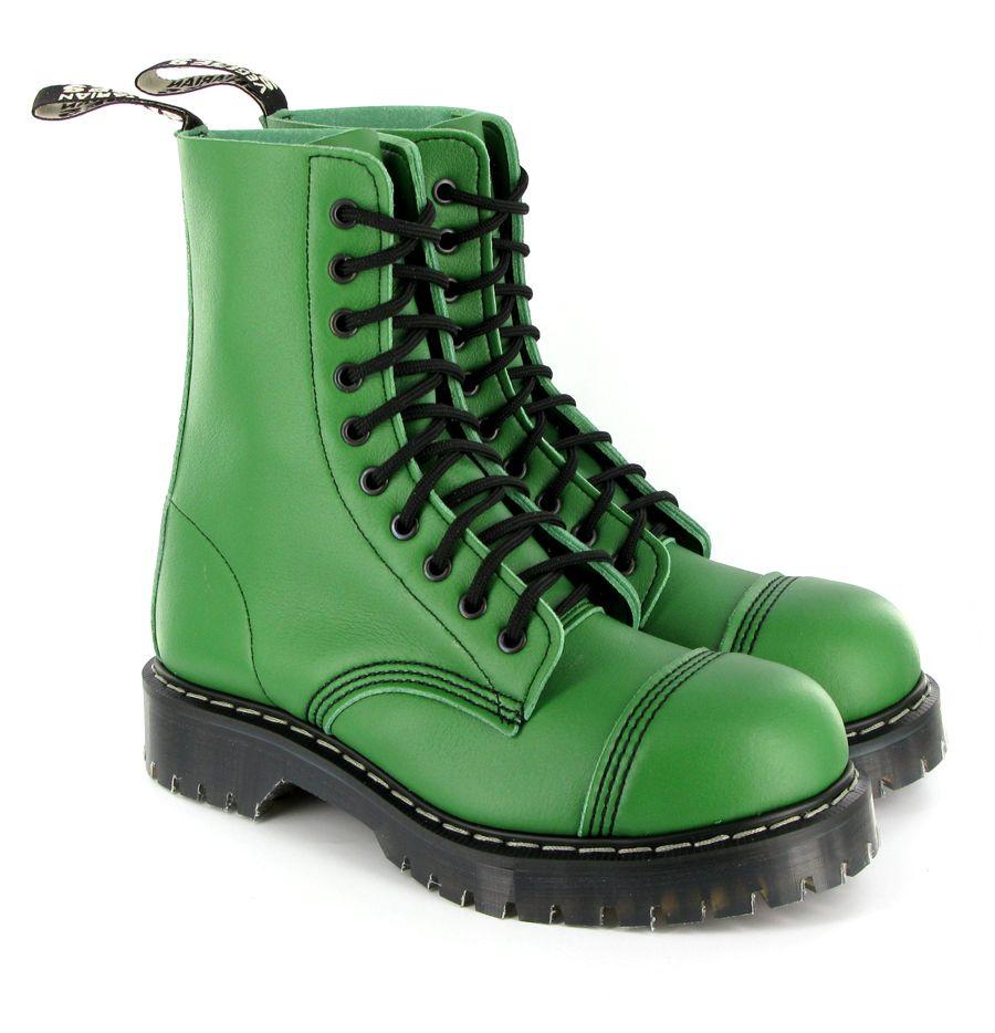 Emerald green (!) lace-up vegan boot