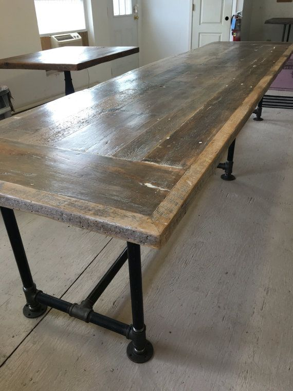 Custom Made Reclaimed Wood Table Made From Nj And Pa 100 Year Old Barn Wood 12 X 3 Reclaimed Dining Table Metal Base Dining Table Reclaimed Wood Dining Table