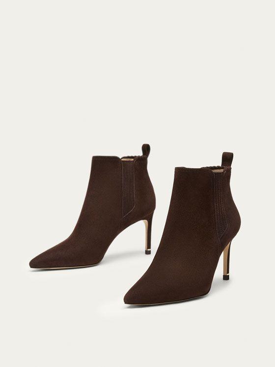 0ac32991240 BOTIN DE TACÓN PIEL ANTE MARRÓN de MUJER - Zapatos - Ver todo de Massimo  Dutti de Otoño Invierno 2017 por 99.95. ¡Elegancia natural!
