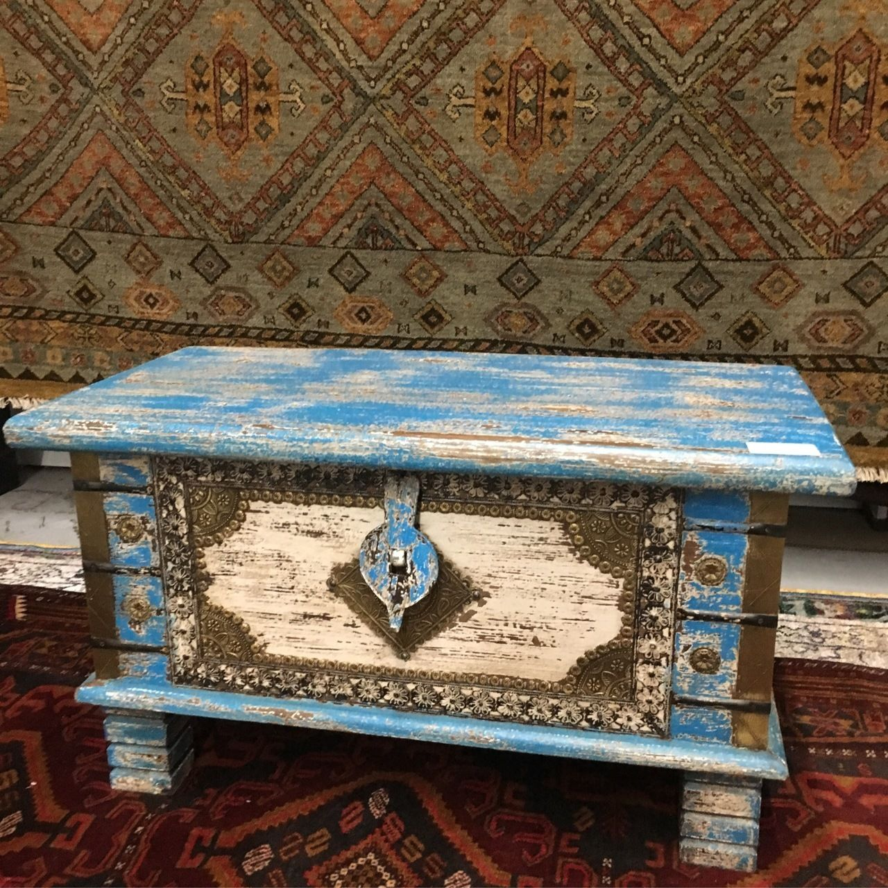32 Inch Wide White And Blue Farmhouse Low Solid Wood Bench Or Trunk