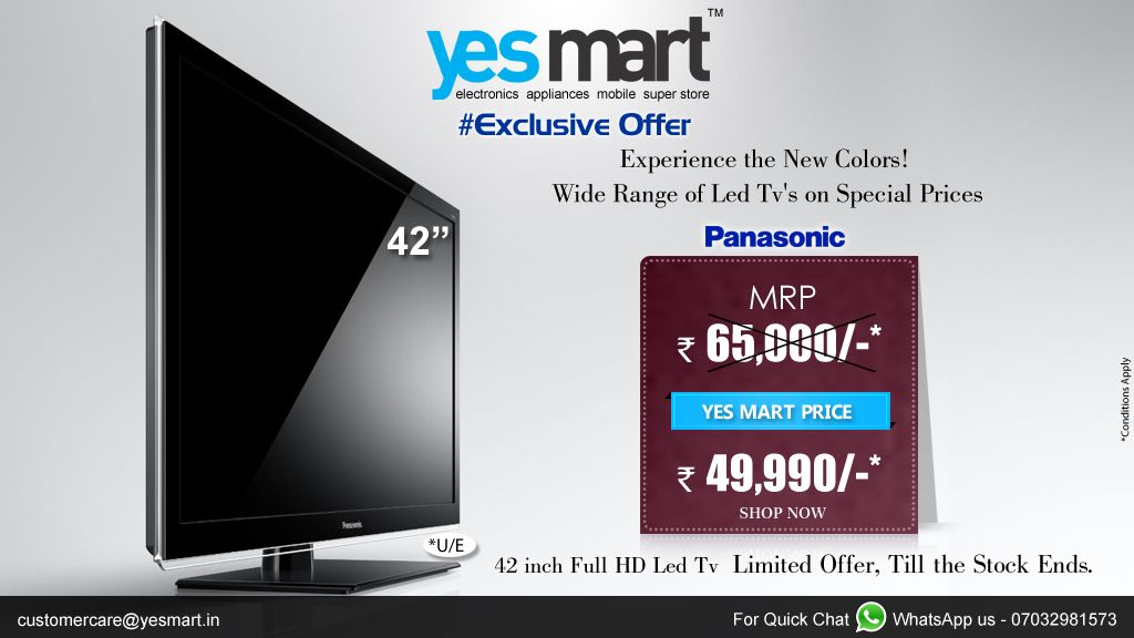 #YesMart Exclusive Offers is here!!! Buy #Panasonic 42-inch HD TV from #YesMart for a Special Price of RS.49,990/-. Visit your nearset #YesMart Store before the offer ends. For more info Visit – www.yesmart.in