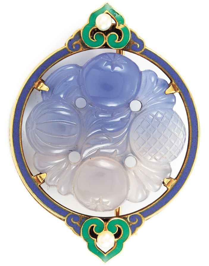 Art Deco Gold, Carved Blue Chalcedony, Enamel and Pearl Brooch, CIRCA 1925.