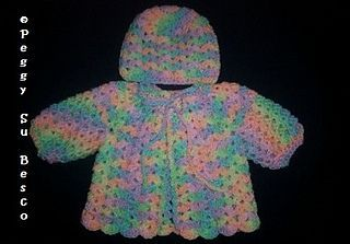 Photo of Baby Girl Shell Sweater and Hat pattern by Peggy Su Besco & Jessica A Esterly