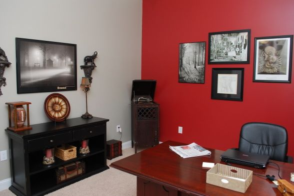 Red Home Office. Red Wall As Accent In Grey Room | Walls Decorating Ideas  Living
