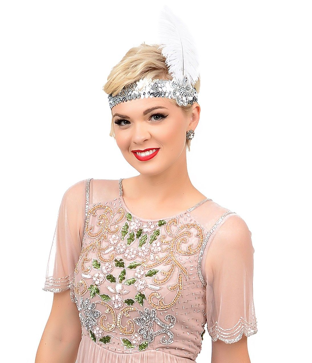 S style blush pink u green hand beaded floral faris flapper