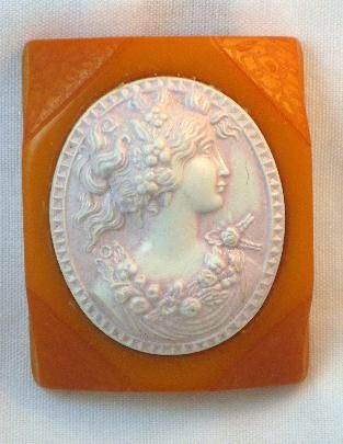Vintage Cameo brooch pin Bakelite /& celluloid jewelry