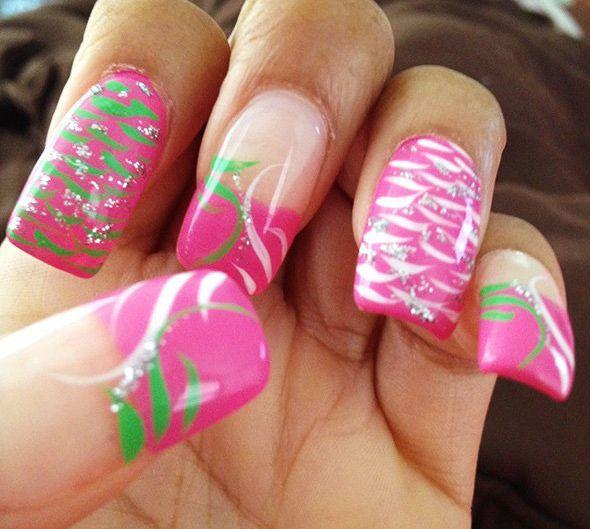 Stylish Pink Mixed Nail Designs 2014