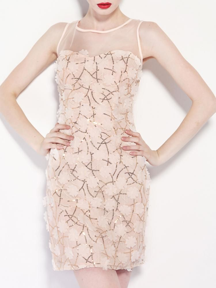3D Flower Sequined Dress With Mesh Panel | Choies