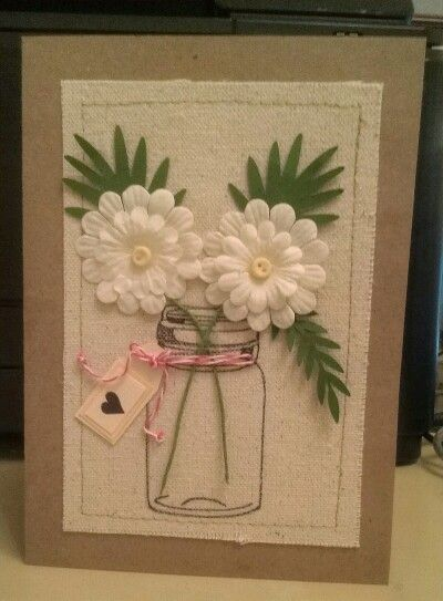 Mason jar flower card