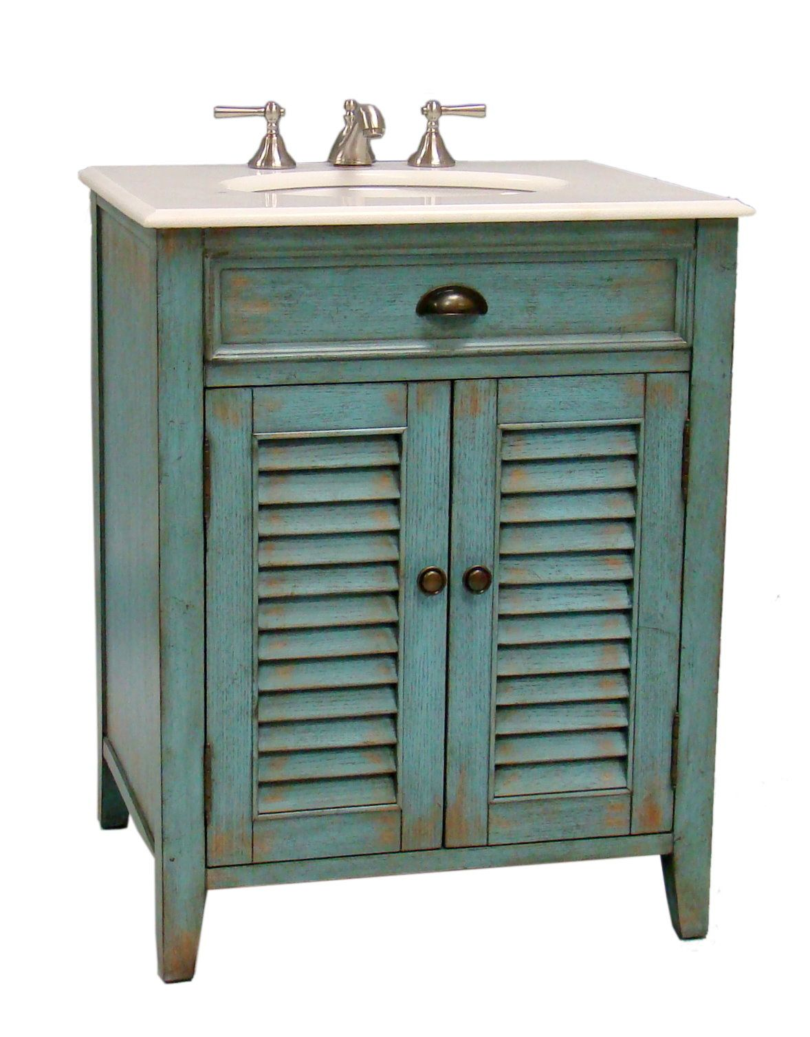 Shutter-style door with antique blue finish Size: 26x21.5x34
