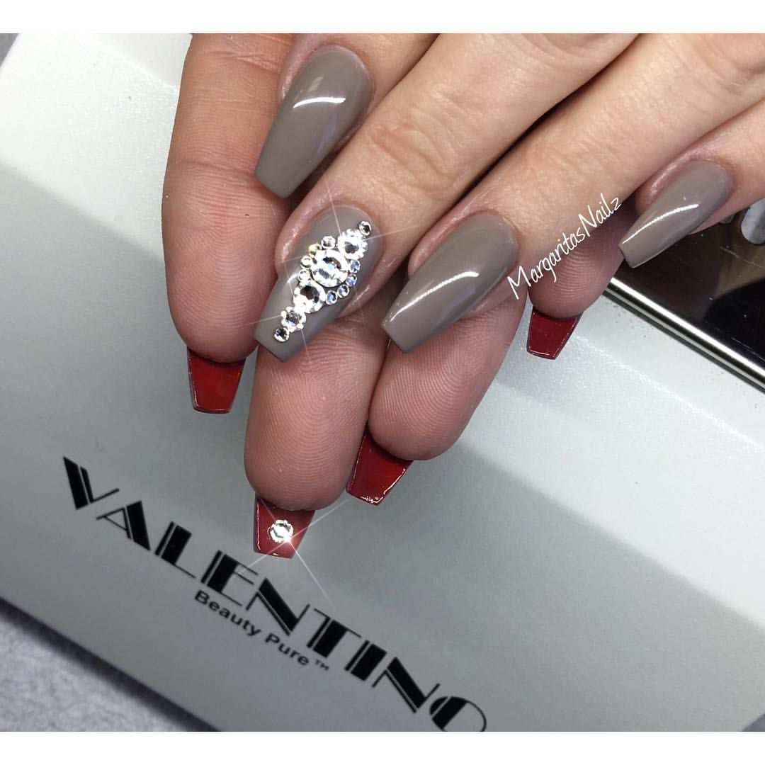 Margaritasnailz On Instagram Red Bottom Nails Valentinobeautypure Teamvalentino Dustfreelife Coffinnails Gelnail Red Bottom Nails Nails Luxury Nails