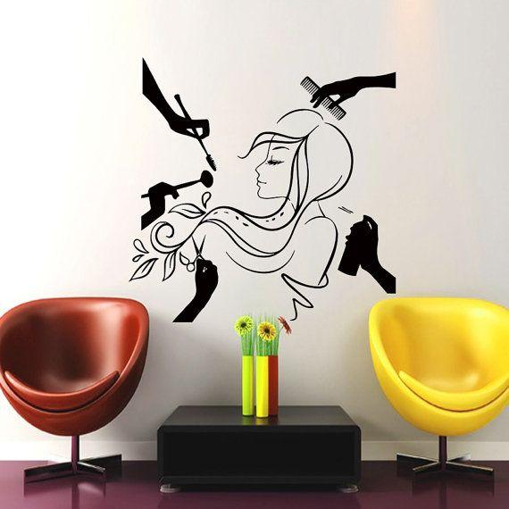 Wall Decal Beauty Salon Hair Fashion Woman Haircut Hairdressing Barber Comb Decals Vinyl Sticker Decor Art Mural Mn474