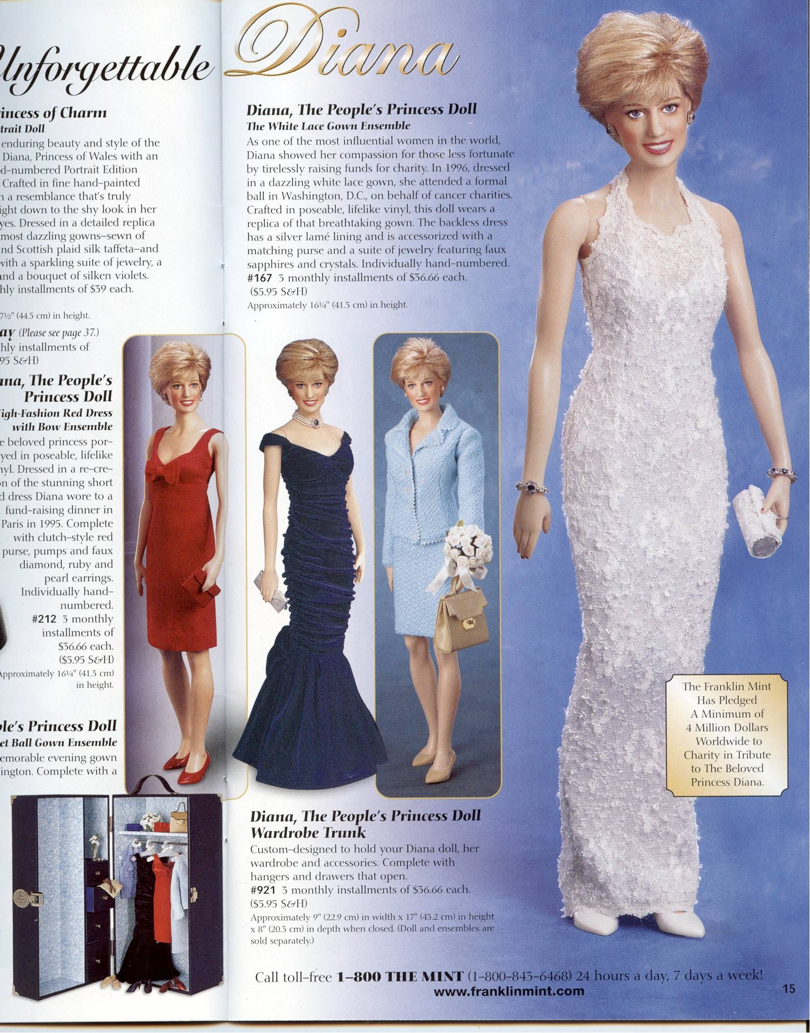 Franklin Mint Princess Diana Doll Wardrobe Trunk /& 5 Outfits