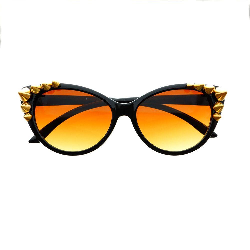 20c31ec985 Cool Metal Studs Designer Fashion Style Womens Cat Eye Sunglasses C1060