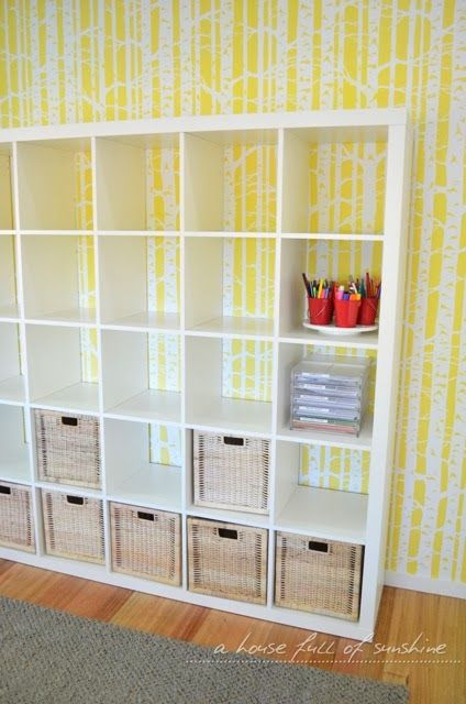 A house full of sunshine: Stencilled playroom wall! Ikea expedit ...