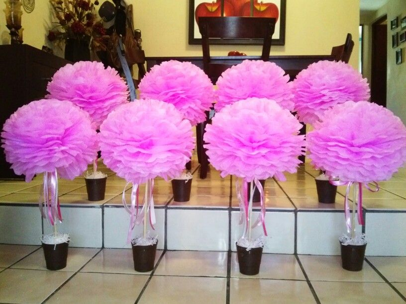 pom pom pink centerpiece baby shower pom pom centerpieces rh pinterest com tissue paper pom poms table centerpieces