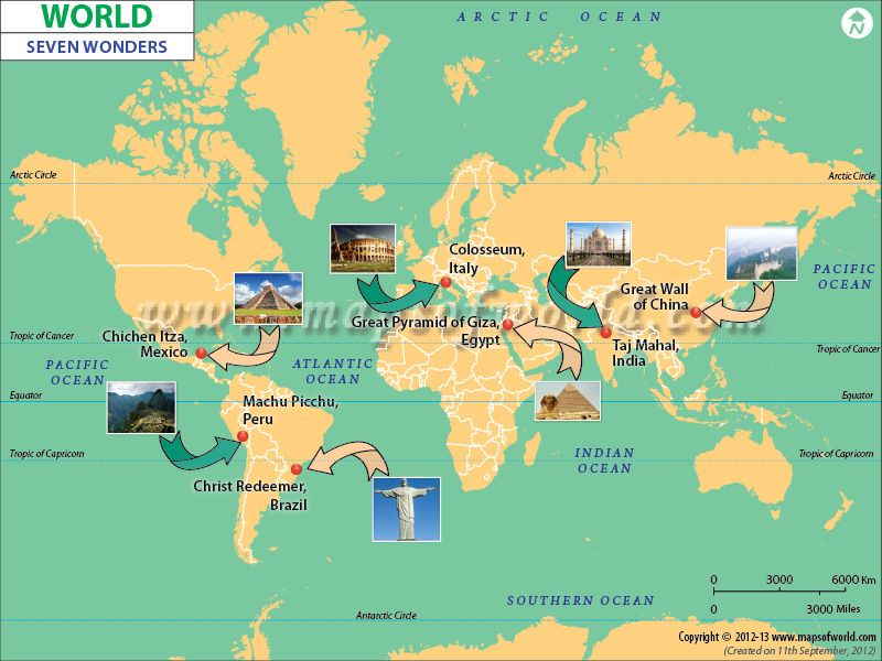 Map Of Seven Wonders of the #World | Map Of The Day | World seven