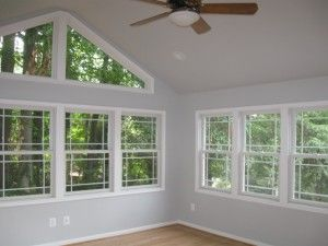 Love The Look Of The Cathedral Ceilings On The Sunroom The Triangular Windows Up Top Are