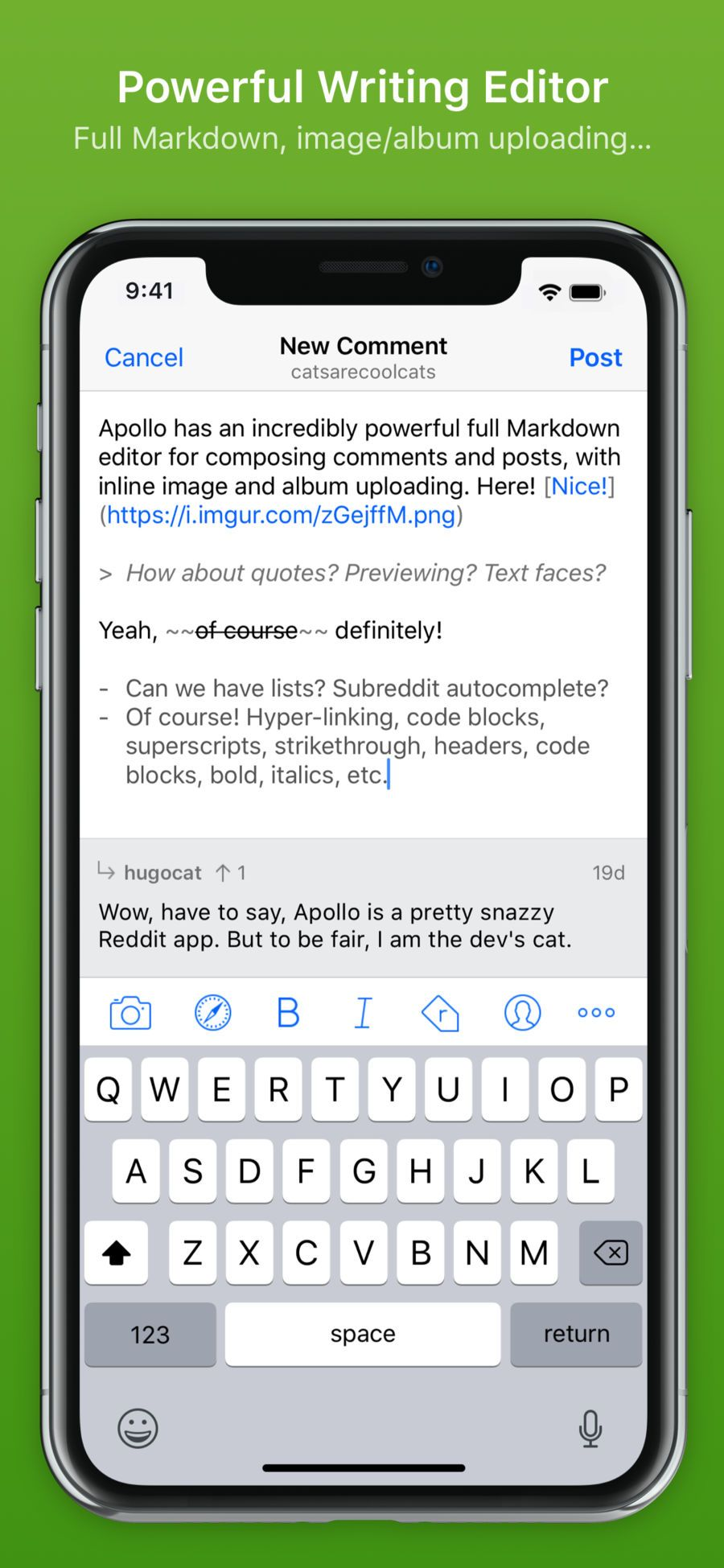 Apollo for Reddit NetworkingSocialappsios Writing