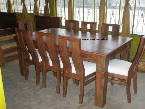 Sillas de comedor rusticas en madera google search mi for Comedores 8 sillas chile