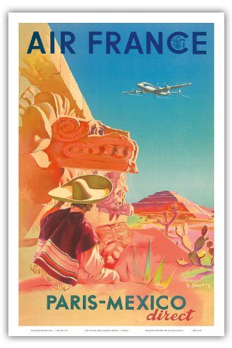 Paris-Mexico Direct - Air France - Mayan Ruins - Vintage Airline Travel Poster by S. Prout c. 1952 - Master Art Print
