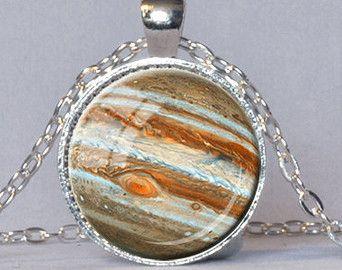 JUPITER NECKLACE Jupiter Pendant Planet Jewelry Planet Pendant Astronomy Pendant Astronomy Jewelry Orange Cream Space Necklace Geek Gift