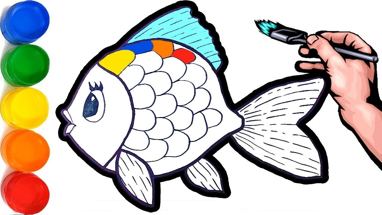 Cute Fish With Glitter Bubbles Coloring And Drawing For Kids Toddlers