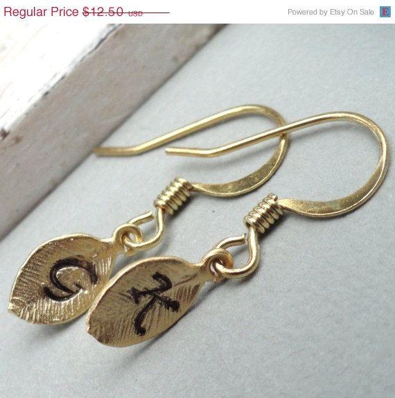 ON SALE Custom Monogrammed Initial Leaf Earrings by Kikiburrabeads, $11.25