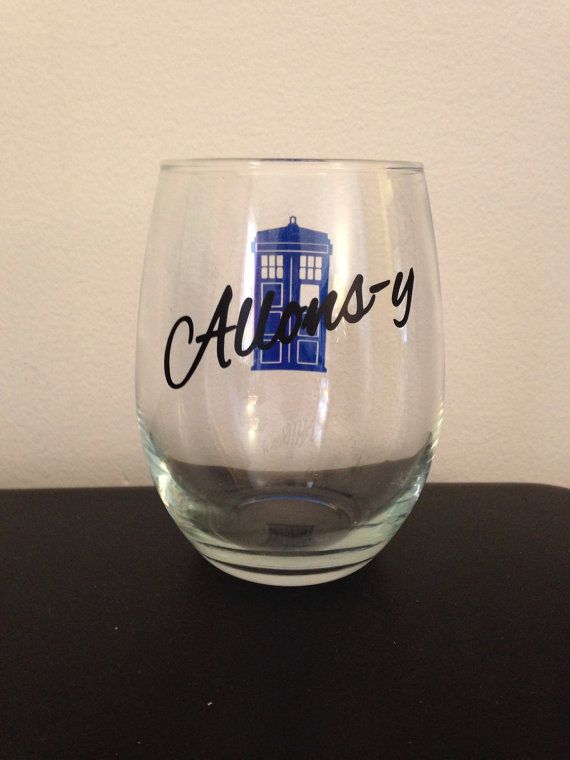 Hey, I found this really awesome Etsy listing at https://www.etsy.com/listing/188571837/allons-y-stemless-wine-glass
