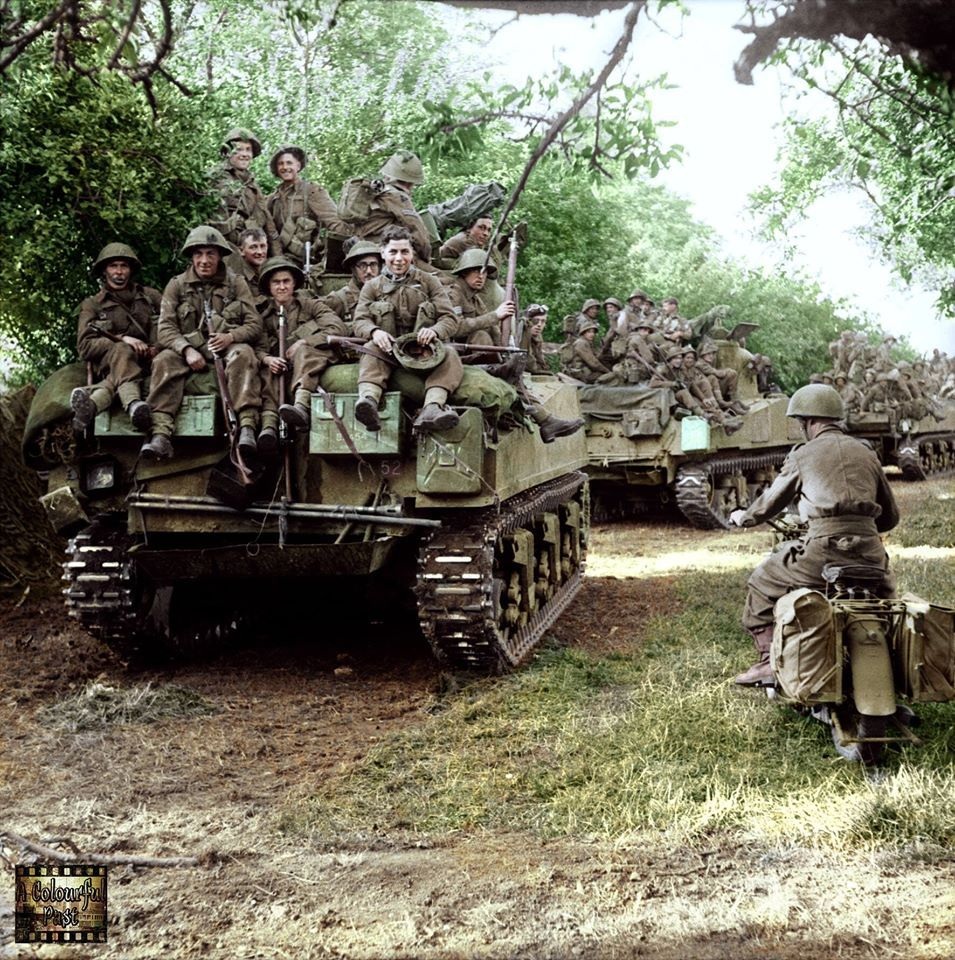 Sherman Tanks Of The Staffordshire Yeomanry 27th Armoured Brigade Carrying Infantry From 3rd Division Move Up At The Start Of Sherman Tank Tank Wwii Photos
