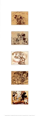 Sketch Collection: Mickey Minnie and Pluto Art Print