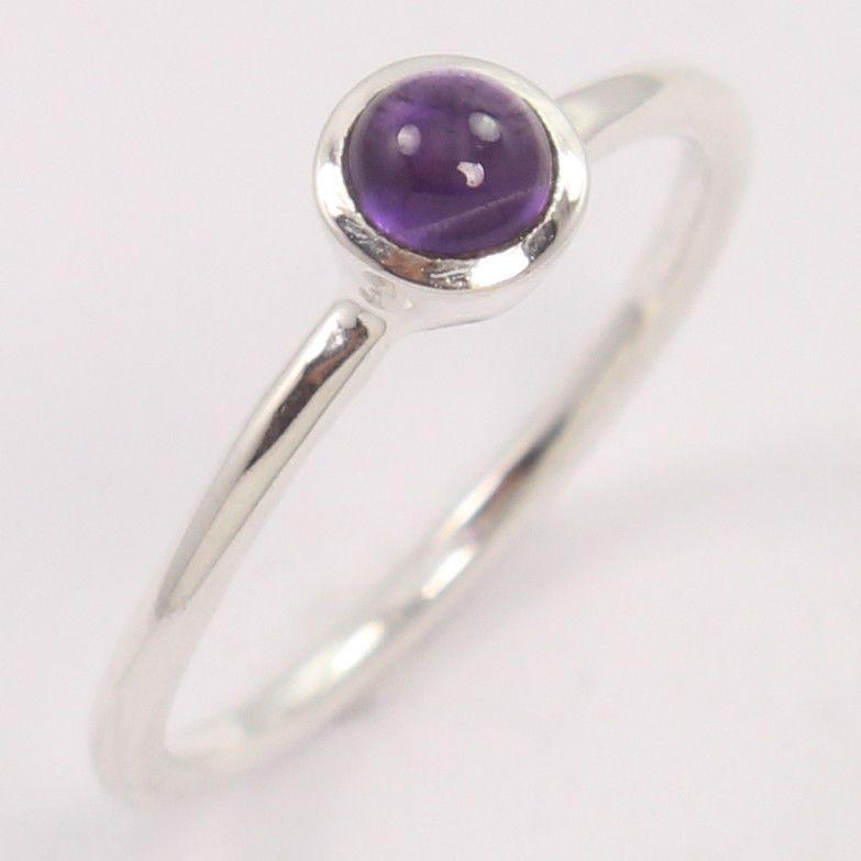 Gemstones 925 Solid Sterling Silver Adorable Genuine Purple Ring Amethyst Purple Stone Silver Ring