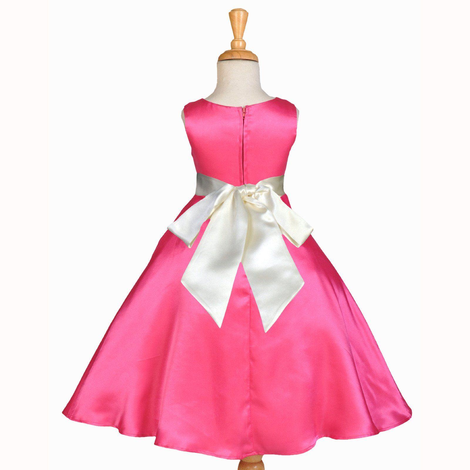 Fuchsia A-Line Satin Flower Girl Dress Wedding Pageant Recital ...