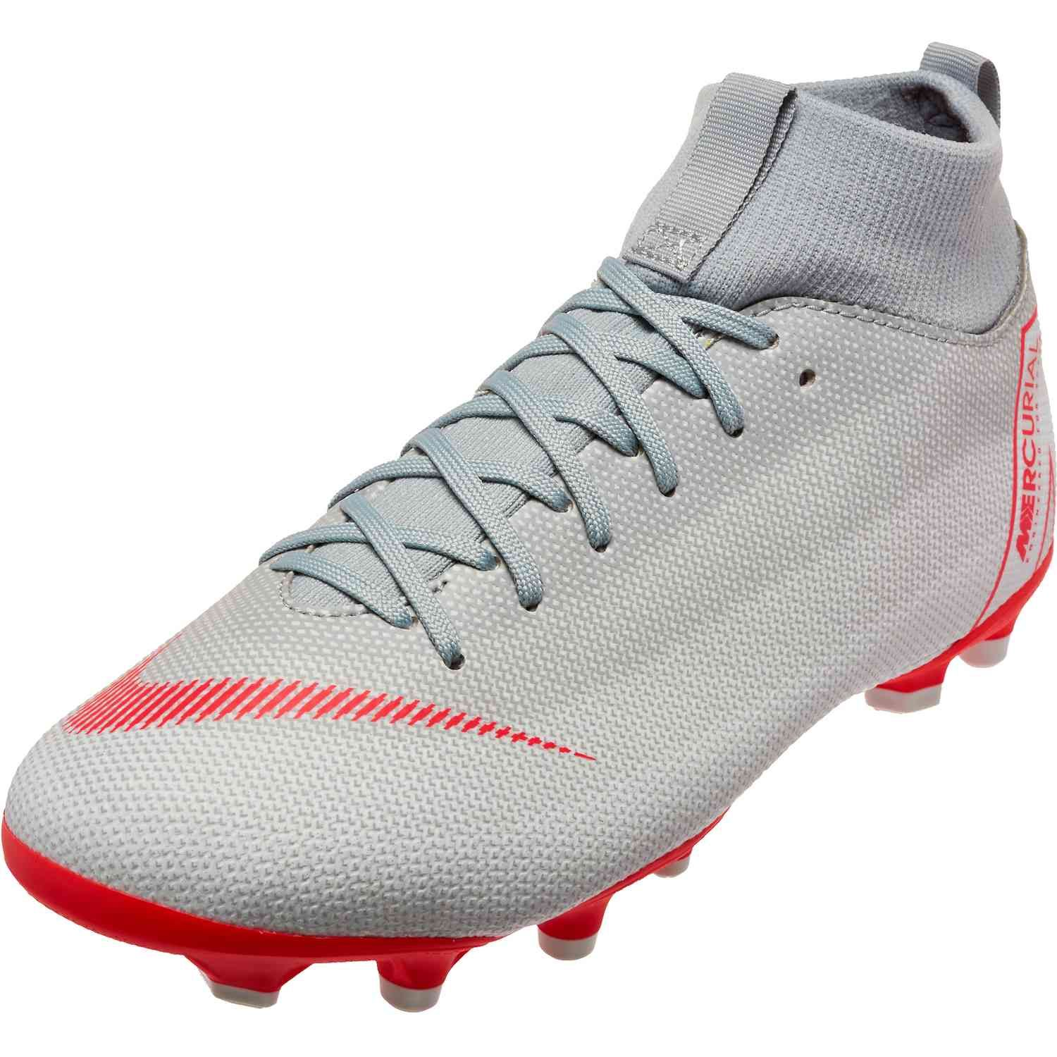 Youth Nike Mercurial Superfly 6 Academy Mg Wolf Grey Light Crimson Pure Platinum In 2020 Youth Soccer Shoes Nike Football Boots Superfly